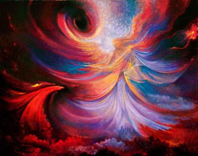 Woman swirling in a universe of colours
